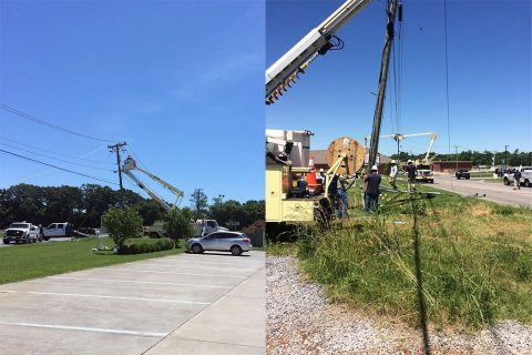 Clarksville Department of Electricity crews working on the broken pole on West Lowes Drive earlier today. (CDE)