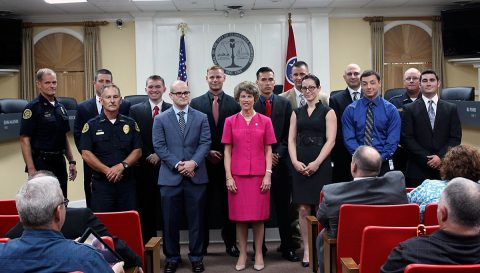 Clarksville Mayor Kim McMillian swore in 10 new Clarksville Police Officers Friday.
