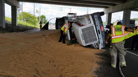 A Semi Truck hauling Grain overturned today on Fort Campbell Boulevard under the 101st Parkway overpass.