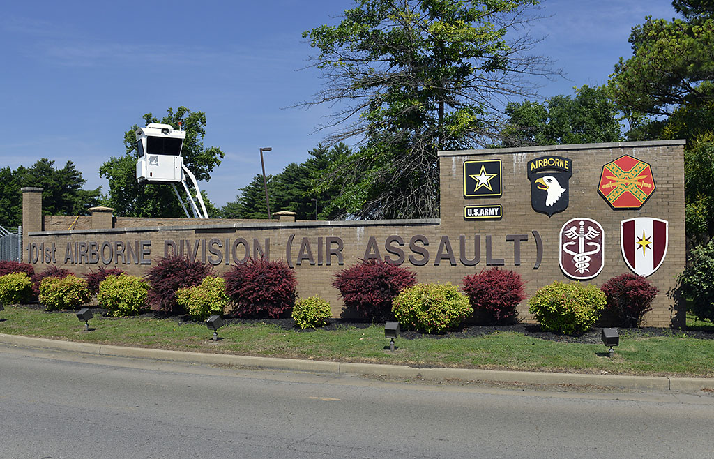 Entrance sign near the incoming lane outside of Gate 4 at Fort Campbell, KY. Fort Campbell is home to the 101st Airborne Division (Air Assault)