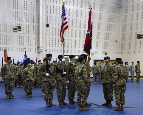 The 101st Special Troops Battalion, 101st ,101st Airborne Division Sustainment Brigade, 101st Airborne Division (Air Assault), conducted a Change of Command ceremony where Lt. Col. Alex Gallegos relinquished command of the battalion to Lt. Col. Wally Vives-Ocasio at Sabo Gym, Fort Campbell, Ky., May 26, 2016. (Sgt. Neysa Canfield, 101st Sustainment Brigade, 101st Airborne Division (AA) Public Affairs)