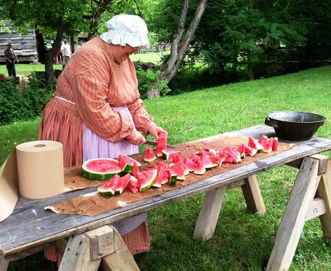 Celebrate Independence Day the old-fashioned way--enjoy a slice of springhouse cooled watermelon at The Homeplace 1850s Farm in Land Between The Lakes! (Staff photo)