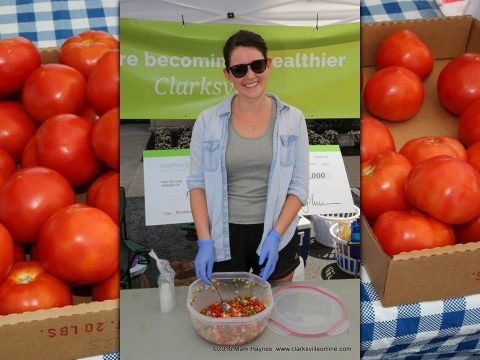 Montgomery County Health Educator Megan Carroll was at the Clarksville Downtown Market this past Saturday handing out samples of freshly made Citrusy Pico De Galio.