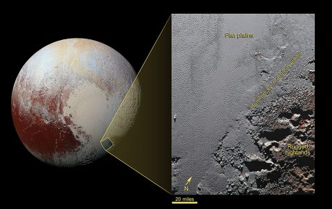 This dramatic image from NASA's New Horizons spacecraft shows the dark, rugged highlands known as Krun Macula (lower right), which border a section of Pluto's icy plains. (NASA/JHUAPL/SwRI)