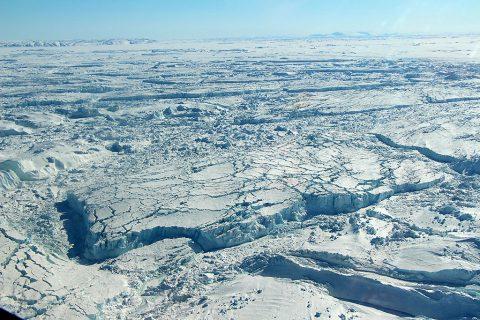Fast-changing Zachariae Isstrom Glacier. (NASA/Maria-José Viñas)