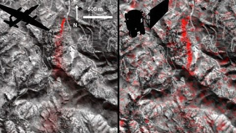 Comparison of detected methane plumes over Aliso Canyon, California, acquired 11 days apart in Jan. 2016 by: (left) NASA's AVIRIS instrument on a NASA ER-2 aircraft at 4.1 miles (6.6 kilometers) altitude and (right) by the Hyperion instrument on NASA's Earth Observing-1 satellite in low-Earth orbit. (NASA-JPL/Caltech/GSFC)