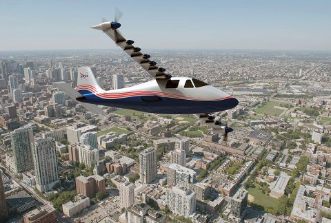 This artist's concept of NASA's X-57 Maxwell aircraft shows the plane's specially designed wing and 14 electric motors. NASA Aeronautics researchers will use the Maxwell to demonstrate that electric propulsion can make planes quieter, more efficient and more environmentally friendly. (NASA Langley/Advanced Concepts Lab, AMA, Inc.)