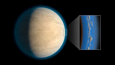Hot Jupiters, exoplanets around the same size as Jupiter that orbit very closely to their stars, often have cloud or haze layers in their atmospheres. This may prevent space telescopes from detecting atmospheric water that lies beneath the clouds, according to a study in the Astrophysical Journal. (NASA/JPL-Caltech)