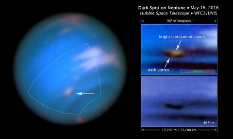 This new Hubble Space Telescope image confirms the presence of a dark vortex in the atmosphere of Neptune. The full visible-light image at left shows that the dark feature resides near and below a patch of bright clouds in the planet's southern hemisphere. The full-color image at top right is a close-up of the complex feature. The vortex is a high-pressure system. The image at bottom right shows that the vortex is best seen at blue wavelengths. (NASA, ESA, and M.H. Wong and J. Tollefson (UC Berkeley))