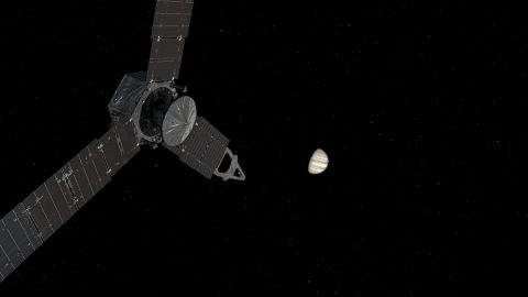 This illustration depicts NASA's Juno spacecraft approaching Jupiter. (NASA/JPL-Caltech)