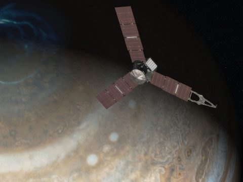 Artist's rendering showing NASA's Juno spacecraft above the north pole of Jupiter. (NASA/JPL-Caltech)