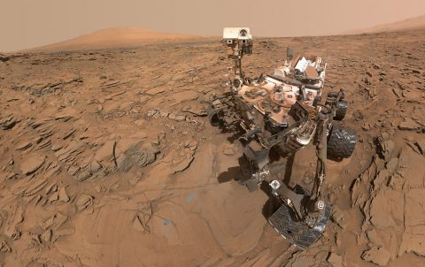 "This May 11, 2016, self-portrait of NASA's Curiosity Mars rover shows the vehicle at the ""Okoruso"" drilling site on lower Mount Sharp's ""Naukluft Plateau."" The scene is a mosaic of multiple images taken with the arm-mounted Mars Hands Lens Imager (MAHLI). (NASA/JPL-Caltech/MSSS)"