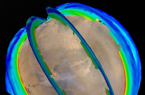 This graphic presents Martian atmospheric temperature data as curtains over an image of Mars taken during a regional dust storm. The temperature profiles extend from the surface to about 50 miles up. Temperatures are color coded, from minus 243 degrees Fahrenheit (purple) to minus 9 F (red).