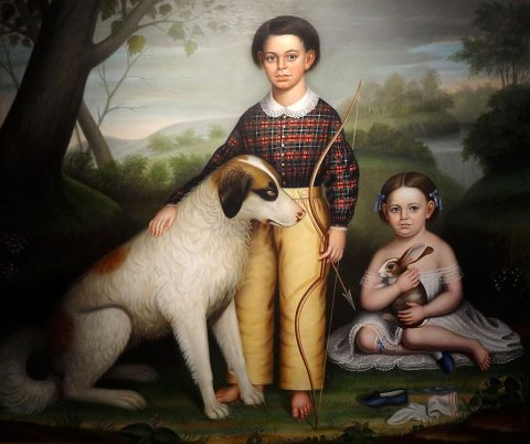 William Shackelford - Portrait of Two Children with Dog and Rabbit