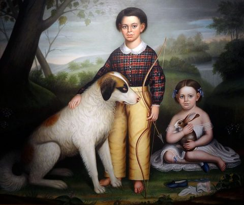 Portrait of Two Children with Dog and Rabbit by William Stamms Shackelford