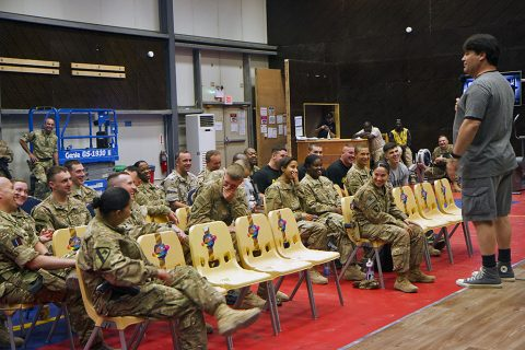 Comedian and former Marine Sam Fedele performs for a group of service members deployed to Iraq as part of the Combined Joint Forces Land Component Command – Operation Inherent Resolve at the Eagle Fitness Center, Forward Operating Base Union III, Baghdad, June 21, 2016. Fedele co-headlined the Star Spangled Comedy Tour, organized by Armed Forces Entertainment, with comedians Stephen Thomas and Steve Mazan (not pictured). (Sgt. Katie Eggers)
