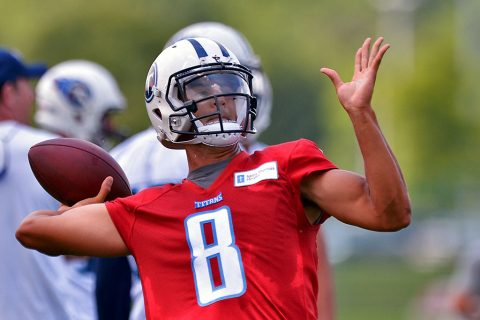 Tennessee Titans quarter back Marcus Mariota (8) passes the ball during mini camp practice at Saint Thomas Sports Park. (Jim Brown-USA TODAY Sports)