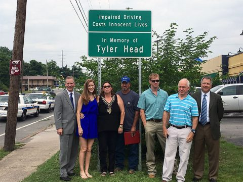 Tyler Head Memorial Sign Unveiling. (L to R) Tennessee State Representative Joe Pitts, Sister, Abbey Head, Mother, Gina Head-Heiber, Step-father, Steven Heiber, Brother, Jamie Head, Father, Chuck Head and Senator Kerry Roberts.