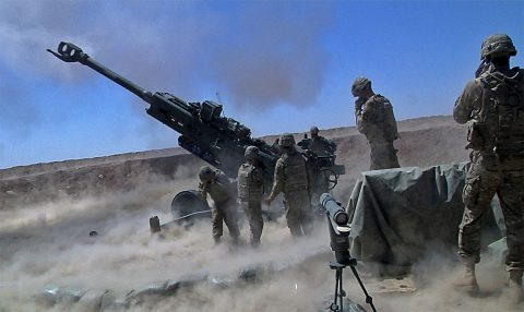 In this file photo, Soldiers from Battery C, 1st Battalion, 320th Field Artillery Regiment, Task Force Strike, execute a fire mission in Kara Soar Base, Iraq, June 13, 2016. Battery C is supporting the Iraqi Security Forces with indirect fires as they move towards the city of Mosul. (1st Lt. Daniel Johnson)