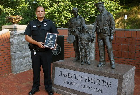 Clarksville Police Officer Renaldo Simoni received the Casey-Fowler-Williamson Leadership Award from the Tennessee Law Enforcement Training Academy (TLETA).