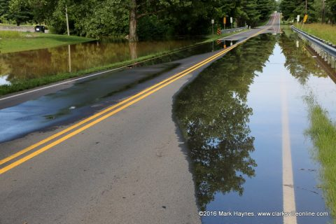High water forces the closure of Dunbar Cave Road Friday.