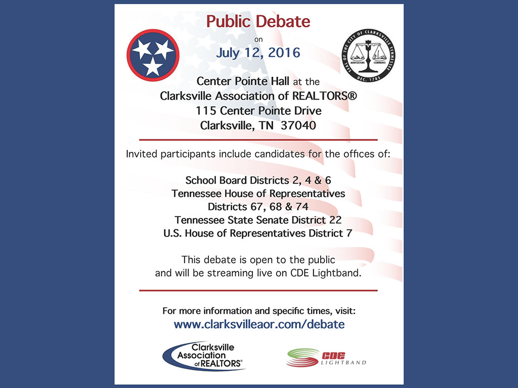 Clarksville Association of Realtors to hold public debate on July 12th