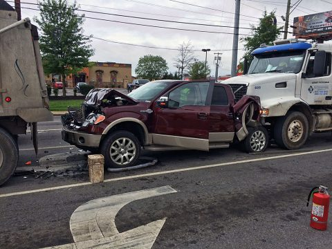 Clarksville Police respond to three vehicle accident this morning at Riverside Drive and North 2nd Street.