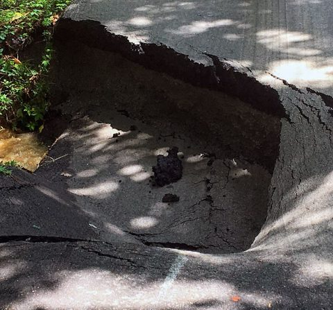 Road closed on Mossrose Road between West Happy Hollow Drive and Woody Hills Drive, due to a sinkhole.