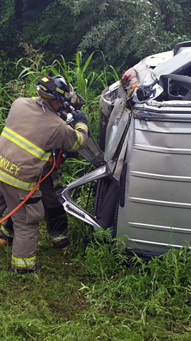 Clarksville Fire and Rescue making entry into the vehicle.