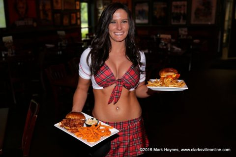 Tilted Kilt waitress Jessica serves your food with a smile.