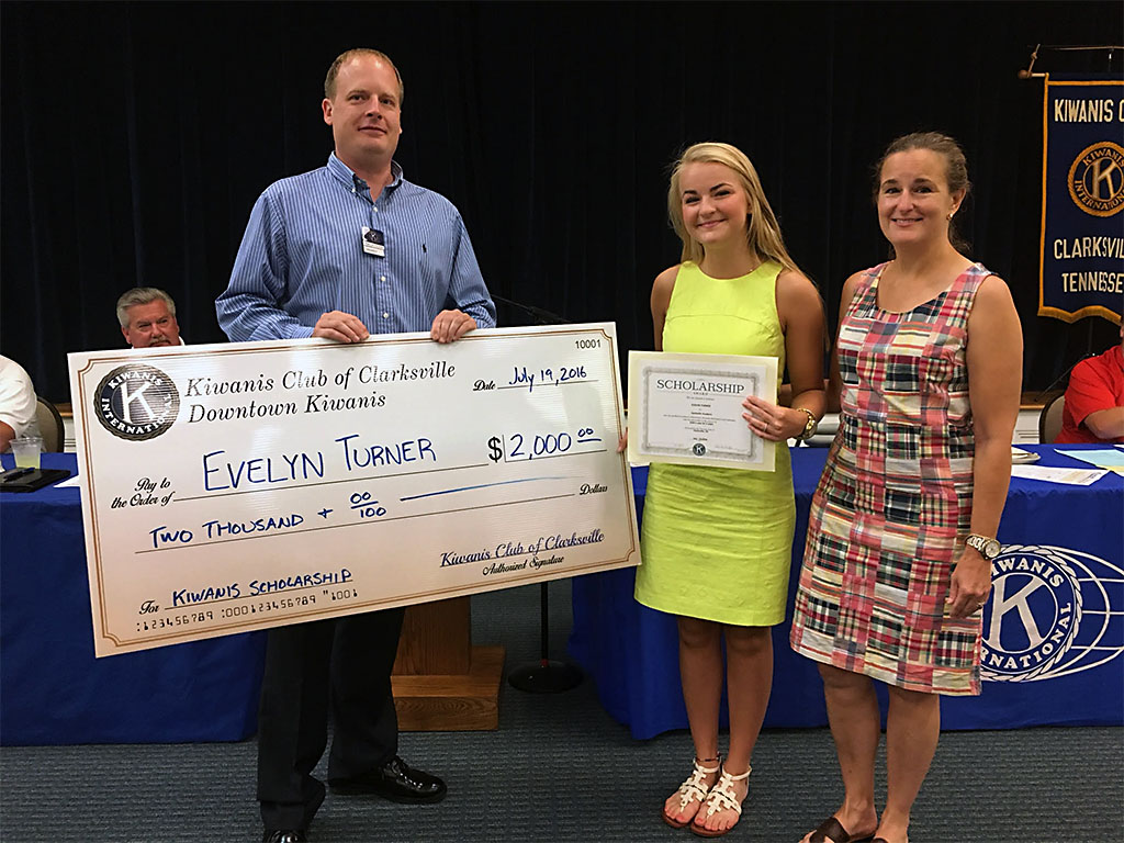 (L to R) Kiwanis Club President Phillip Tucker, Evelyn Turner and her mother Kimberly Turner.
