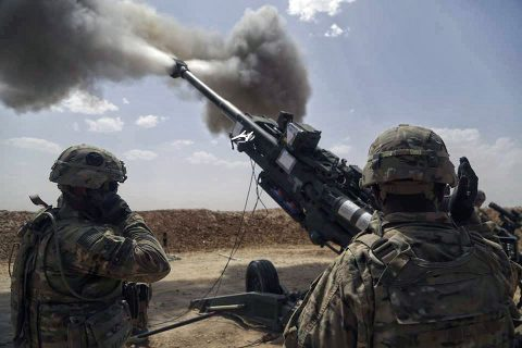 U.S. Soldiers with 1st Battalion, 320th Field Artillery Regiment, 2nd Brigade Combat Team, 101st Airborne Division (Air Assault), fire an M777 howitzer at Kara Soar Base, Iraq, May 23, 2016. The Soldiers conducted fire missions to calibrate their weapons systems. The fire missions at the Kara Soar Base serve two roles: to provide force protection for Coalition and Iraqi security forces and to support the Iraqi Security forces ground maneuver by providing indirect fire support, enabling them to defeat Da'esh. (U.S Army photo by Sgt. Paul Sale)