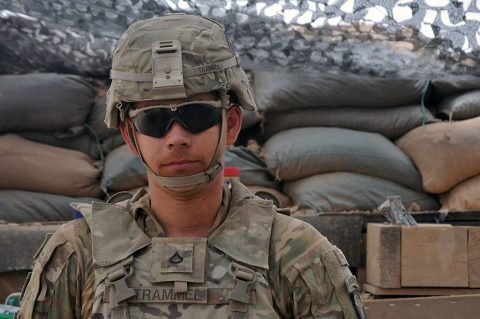Pfc. Tristan Trammel with with Battery C, 1st Battalion, 320th Field Artillery Regiment, Task Force Strike, June 18th, 2016, in Kara Soar Base Iraq. Trammel was motivated to join the United States Army field artillery after viewing videos of executions conducted by the Islamic State of Iraq and the Levant Online. (U.S. Army photo by 1st Lt. Daniel Johnson/Released)