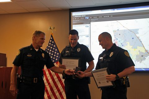 Clarksville Police Chief Al Ansley recognized Officers Castin Lanham, Timothy Simulis, Zach Forfang, and David Moore for their exemplary actions concerning an armed suicidal male.