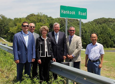 (L to R) State Senator Mark Green, Industrial Development Board Chairman Billy Atkins, Clarksville Mayor Kim McMillan, State Representation Curtis Johnson, Montgomery County Mayor Jim Durrett, Hankook Plant Manager Rocky Yoon.
