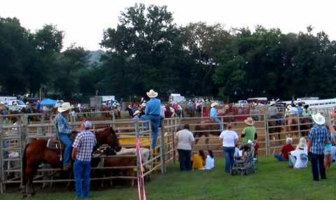Horse enthusiasts enjoy an evening of rodeo fun during Wranglers Primitive Rodeo in July. (Staff photo)