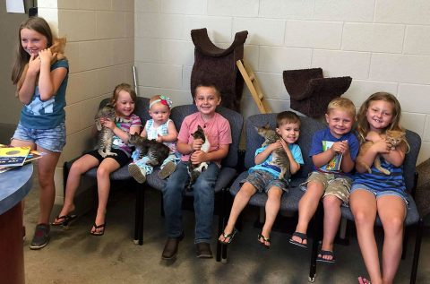 Children holding cats and kittens during story reading at Montgomery County Animal Care and Control.