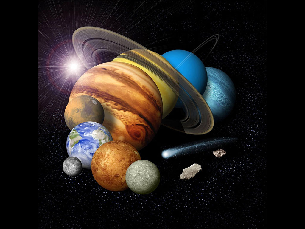 Montage of planets. (NASA/JPL)