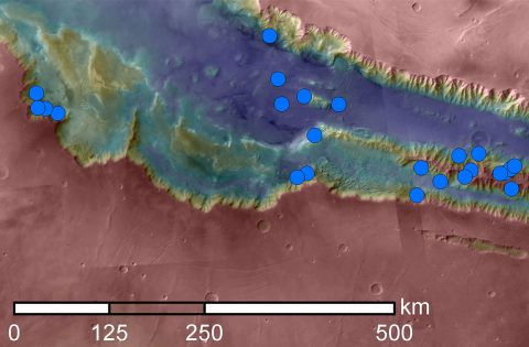 Blue dots on this map indicate sites of recurring slope lineae (RSL) in part of the Valles Marineris canyon network on Mars. RSL are seasonal dark streaks that may be indicators of liquid water. The area mapped here has the highest density of known RSL on Mars. (NASA/JPL-Caltech/Univ. of Arizona)