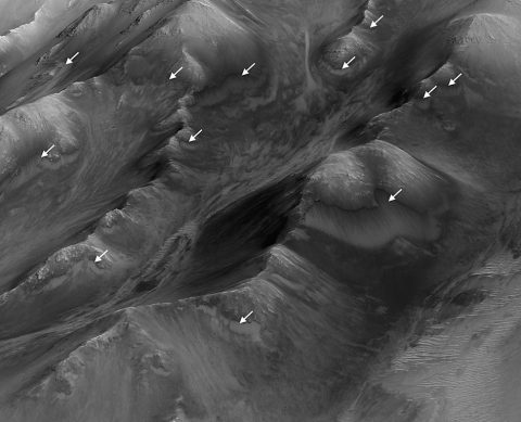 """The white arrows indicate locations in this scene where numerous seasonal dark streaks, called """"recurring slope lineae,"""" have been identified in the Coprates Montes area of Mars' Valles Marineris by repeated observations from orbit. (NASA/JPL-Caltech/Univ. of Arizona)"""