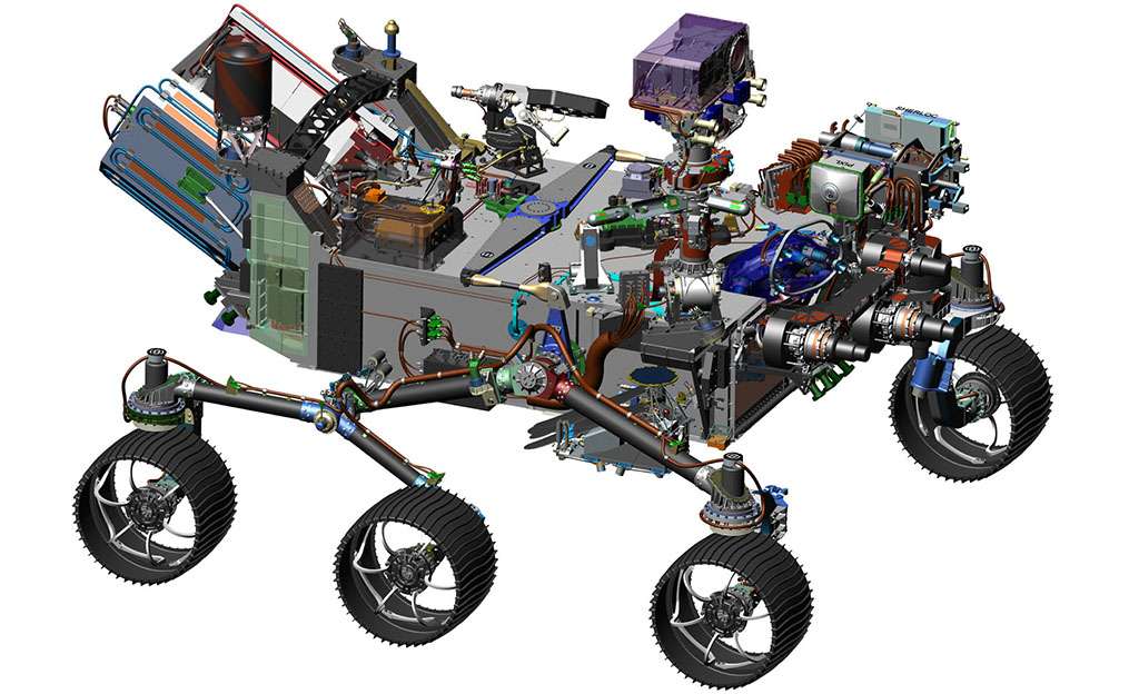 This 2016 image comes from computer-assisted-design work on NASA's 2020 Mars rover. (NASA/JPL-Caltech)