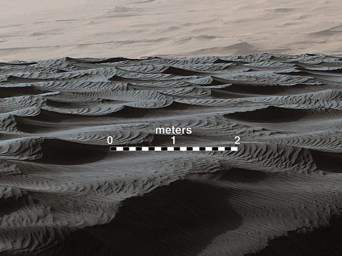Two sizes of ripples are evident in this December 13th, 2015, view of a top of a Martian sand dune, from NASA's Curiosity Mars rover. Sand dunes and the smaller type of ripples also exist on Earth.