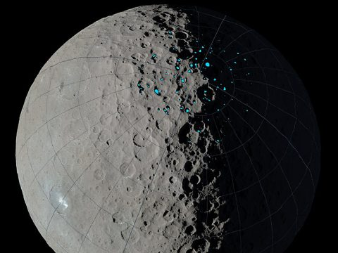"At the poles of Ceres, scientists have found craters that are permanently in shadow (indicated by blue markings). Such craters are called ""cold traps"" if they remain below about minus 240 degrees Fahrenheit (minus 151 degrees Celsius). (NASA/JPL-Caltech/UCLA/MPS/DLR/IDA)"