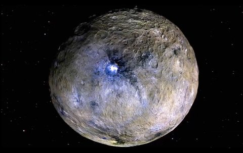 This false-color rendering highlights differences in surface materials at Ceres, one of the targets of the Dawn mission. (NASA/JPL-Caltech/UCAL/MPS/DLR/IDA)