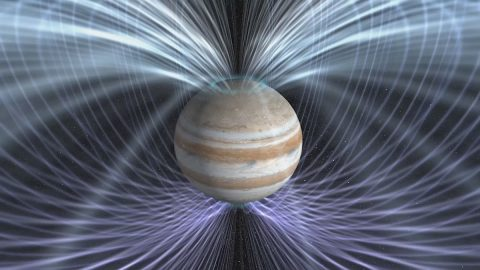 Scientists will use the twin magnetometers aboard NASA's Juno spacecraft to gain a better understanding about how Jupiter's magnetic field is generated. (NASA Goddard Space Flight Center)