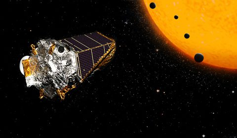 This artist's concept shows NASA's Kepler Space Telescope on its K2 mission. In July 2016, an international team of astronomers announced they had discovered more than 100 new planets using this telescope. (NASA/JPL-Caltech)