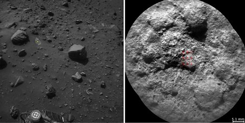 NASA's Curiosity Mars rover autonomously selects some targets for the laser and telescopic camera of its ChemCam instrument. For example, on-board software analyzed the Navcam image at left, chose the target indicated with a yellow dot, and pointed ChemCam for laser shots and the image at right. (NASA/JPL-Caltech/LANL/CNES/IRAP/LPGNantes/CNRS/IAS)