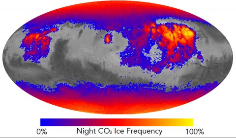 This map shows the frequency of carbon dioxide frost's presence at sunrise on Mars, as a percentage of days year-round. Carbon dioxide ice more often covers the ground at night in some mid-latitude regions than in polar regions, where it is generally absent for much of summer and fall. (NASA/JPL-Caltech)