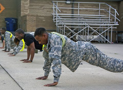 Pfc. Cheko Waters, a shower laundry and clothing repair specialist with 227th Quartermaster Company, 129th Combat Sustainment Support Battalion, 101st Airborne Division Sustainment Brigade, 101st Abn. Div. (Air Assault), participates in Air Assault physical training with his company on July 20, 2016. (Sgt. Neysa Canfield, 101st Sustainment Brigade, 101st Airborne Division (AA) Public Affairs)