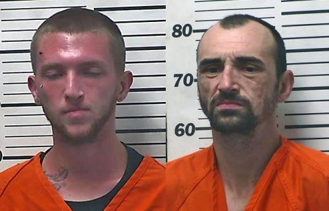 (L to R) Clarksville's William Dennis Leidecker and Michael J. Shaffner from Lyle TN arrested for officer involved shooting in Hickman County.